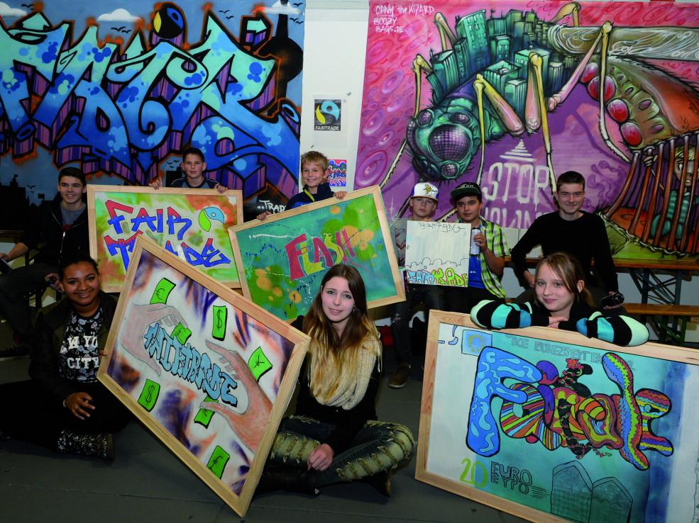 Die Finalisten und Sieger der Battle of Schools Graffiti und Street Art Meisterschaft Berlin